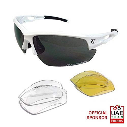 VeloChampion White Tornado Cycling Running Sports Sunglasses - with 3 Sets of Lenses and Soft Pouch