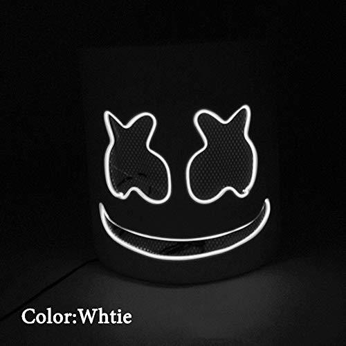 Marshmallow DJ Headpiece, Halloween Glow Maske LED Glow Cotton Candy Kopfschmuck Cosplay Maske Konzert Requisiten, Bar, Elektronische Silbe, Party,White,VoiceControl (Cotton Candy Kostüm)