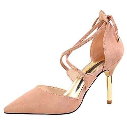 Oasap Women's Pointed Toe Cross Strap Stiletto Sandals pink