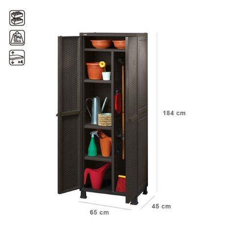 Armadio in resina con 4 piani e portascope da esterno marrone negozio di casette da giardino - Armadio in resina da esterno ...
