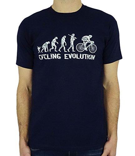 Cycling Evolution - Lustig Radfahren Geburtstagsgeschenk/Gegenwart T-Shirt Navy Blau 2XL - Radfahren Lustige T-shirt