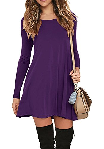 Casual Vestito da Donna Abito Maniche Lunghe Mini Abito con Tasca Dress de Cocktail Maglietta Allentata Tops Viola