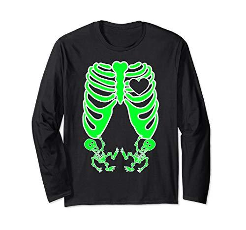 Für Kostüm Zwillinge - Schwangere Röntgen-Skelett Zwillinge Kostüm Mutter Halloween Langarmshirt
