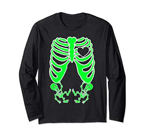 X Skelett Kostüm Ray - Schwangere Röntgen-Skelett Zwillinge Kostüm Mutter Halloween Langarmshirt