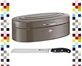 WESCO Brotkasten ELLY WARM GREY mit BSF Brotmesser im Set % SALE %