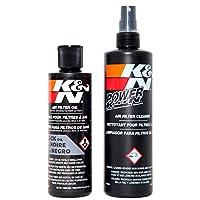 مجموعة تنظيف فلاتر الهواء من كيه آند إن: منظف زجاجة فلتر وطقم زيت أسود؛ يعيد أداء فلتر هواء المحرك؛ مجموعة الخدمات -99-5050BK 99-5050BK