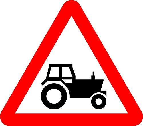 Traktor-display (Traktor Schild. Road Safety Sign Schild aus Aluminium-3mm mit 2Streifen Ausgestattet zu hinten für die Montage auf Post 600mm x 600mm)