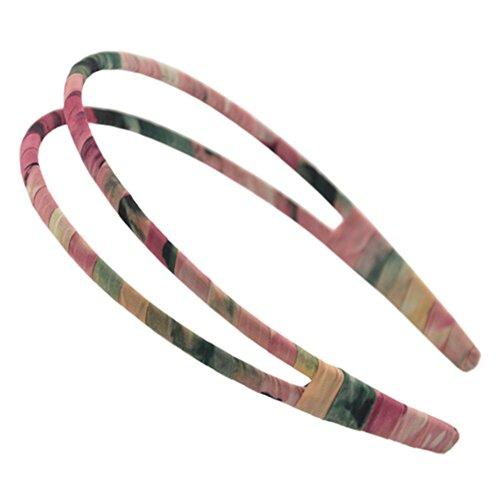 Main Tissu Art cheveux fermoir bandeau double rangée Décor cheveux Pink/Vert