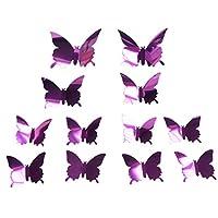 12Pcs/Set Butterfly 3D Mirror PVC Wall Art Sticker Decal Removable Home Decor uyhghjhb (Purple)