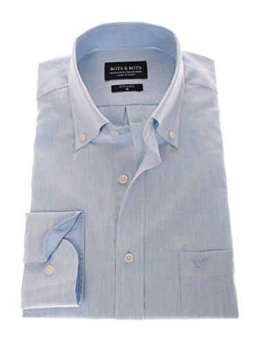 166102 - Bots & Bots Exclusive Collection - 55% Lin / 45% Coton - Button Down - Normal Fit Bleu Clair