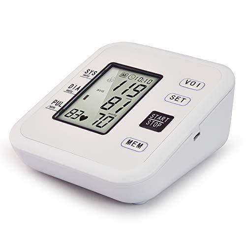 YHMMOO USB Elektronischer Oberarm Blutdruckmessgerät Arrhythmie Erkennung mit Digital LCD Display Real Voice 2 * 99 Speicherfunktion,Beige