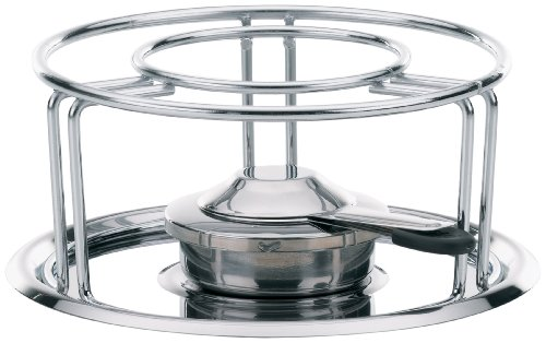 Kela 60127 Rechaud mit Sicherheitspastenbrenner, Verchromtes Metall/ Edelstahl, 23,5 cm Durchmesser, Maxi