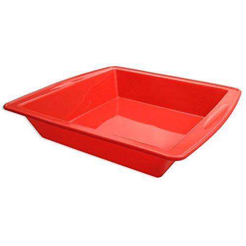 Silikon Kuchenform,21X21cm SILIVO Antihaft Quadrat Backform und Kastenform für Saftige Brote und kuchen(rot) (Obst-sticks Für Kinder)