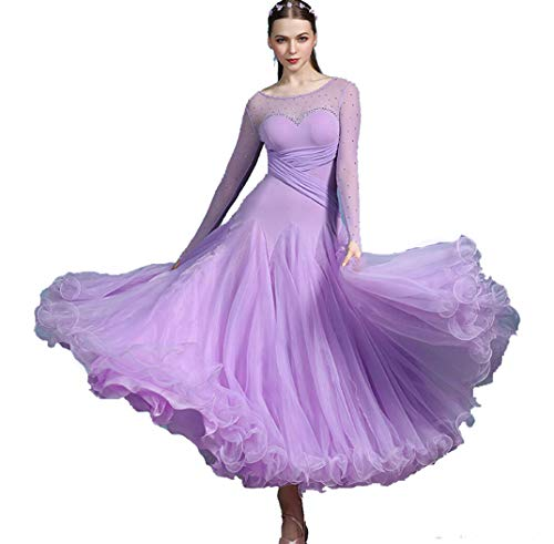 SMACO Standard Ballroom Dance Kleider New Desigh Hochwertige One Shoulder Waltz Dancing Rock Ballroom Competition Dance Kleid,Lila,L