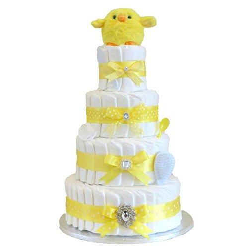 Signature quatre étages Unisexe Jaune Gâteau De Couches pour bébé/Panier/Cadeau bébé/Cadeau de douche NEW ARRIVAL/envoi rapide