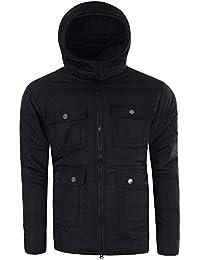 Herren Mantel Jacke Stepp Parka Jacket Daunen Look Winterjacke Kapuze M490