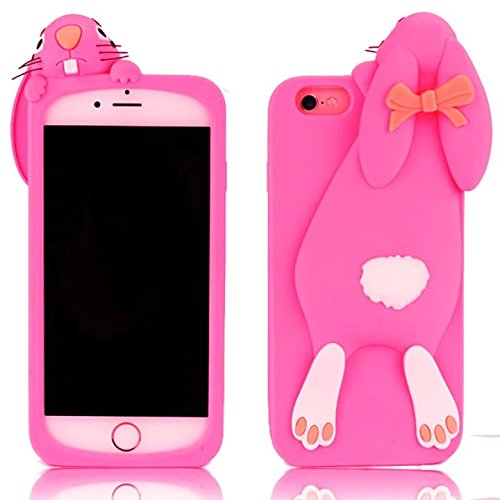 "Sunroyal 3D Fashion Case Cute Funny Süße Silikon Schutzhülle Buck Teeth Bunny Rabbit Soft Weichem Handy Tasche für Apple iPhone 6 Plus iPhone 6S Plus (5.5"") Karikatur Cartoon Zubehör Set Handyhülle Et Pattern 06"