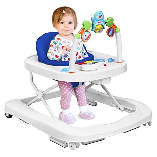 COSTWAY 2-in-1 Lauflernhilfe, Baby Walker höhenverstellbar, Gehfrei klappbar, Laufhilfe mit Spielbogen, Lauflernwagen, Laufstuhl 75 x 60 x 70 cm (Blau)