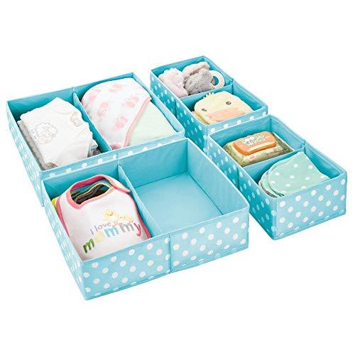 ewahrungsbox - 4 Organizer in Zwei Größen für alle Schubladen im Haus - Aufbewahrungssystem mit je Zwei Fächern und Punkte-Muster - türkis und weiß ()