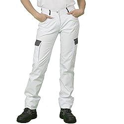 Label Blouse Pantalon de Travail Homme Coupe Jeans 5 Poches + Deux Poches cotés. Couture renforcée Braguette Zip Métal Couleur Blanc Rabat Gris T34