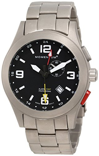 Momentum Vortech GMT Men's Quartz Watch with Black Dial Analogue Display and Grey Titanium Bracelet 1M-SP58B0