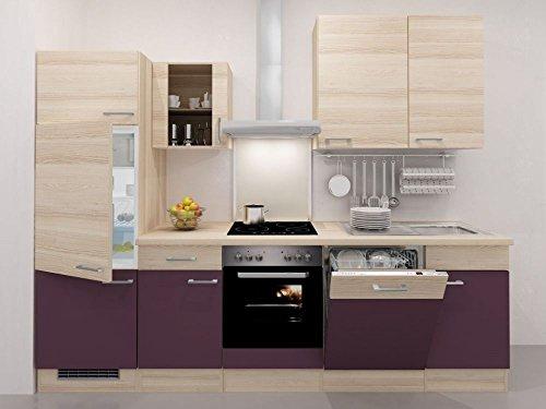 Küchenzeile Flex-Well mit Geräten 280 cm Aubergine Akazie - Zafia