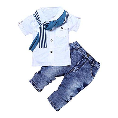 Culater-I-bambini-neonati-manica-corta-T-Shirt-Top-sciarpa-pantaloni-vestiti-Outfits