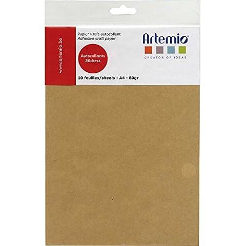 Artemio 13020035 Set de 10 Feuilles de Papier Adhésives A4 Kraft Papier Multicolore 21 x 0,5 x 32,70 cm