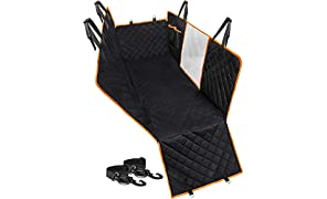 Callas Polypropylene Hammock 600D Waterproof Scratchproof Nonslip Durable Back Seat Pet Cover for Car (Black, Standard Size)