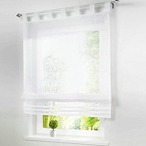 1Pc Stores Romains Transparent Simple Rideau Voilage Raffrollo Rideaux à Pattes Décoration de Fenêtre Chambre / Salle de Bain / Balcon (100x155cm, blanc)