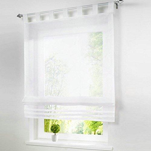1er-Pack Raffrollo mit Schlaufen Gardinen Voile Transparent Vorhang (BxH 80x155cm, weiß)
