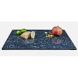 Große Arbeitsplatte Küchenplatte, Servierplatte oder Tischplatte aus poliertem Granit, dunkelblau-grau mit Design, Unikat Handarbeit 60 x 48 x 1,8 cm, 12KG