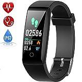 Smart Technic Fitness Tracker, Orologio Fitness Braccialetto Pressione Sanguigna Cardiofrequenzimetro da Polso Impermeabile IP67 Donna Uomo Bambini Smartwatch Contapassi Pedometro per Android iOS