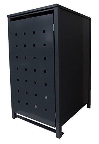 BBT@ | Hochwertige Mülltonnenbox für 2 Tonnen je 240 Liter mit Klappdeckel in Schwarz (RAL 9005) / Stanzung 5 / Aus stabilem pulver-beschichtetem Metall / Verschiedene Farben + Blech-Stanzungen erhältlich / Mülltonnenverkleidung Müllboxen Müllcontainer - 3