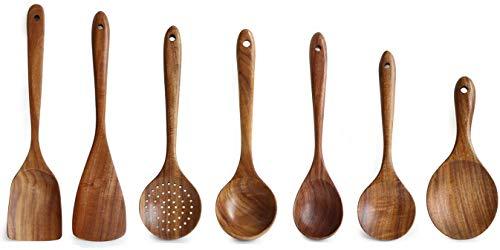 Loned Küchenhelfer Set, 7 Stück Holz Küchenutensilien Sets, Hitzebeständig und Antihaft, Japanischer Stil