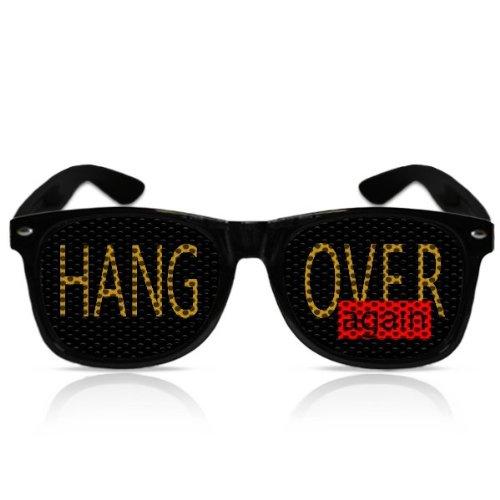 Partybrillen beklebte Sonnenbrillen bedruckte Pilotenbrillen Promotionbrillen JGA Zubehör Spassbrille mygafas - Hangover again (Schwarz)