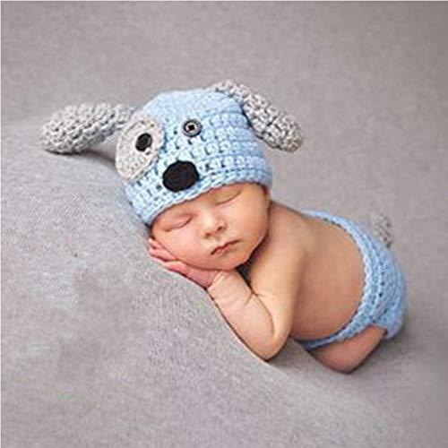 Mode Neugeborenen Jungen Mädchen Baby Kostüm Gestrickte Fotografie Requisiten Hündchen Hut Hosen (Blue)