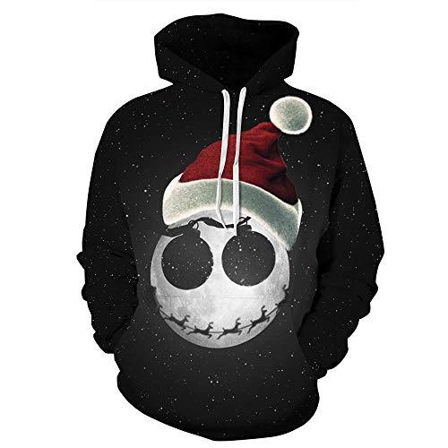 Eo4v Hd-Frühling Herbst Winter Männer Frauen Mit Kapuze Print Tunnelzug Sterne Weihnachten Hut Hoodie Sweatshirt 3D Black XXXL