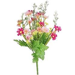 Rocita 28 Flores Artificiales Artificiales Artificiales de Margarita Natural Artificiales para Ramos de Boda, decoración de Mesa, Color Rosa Rojo/Rosa