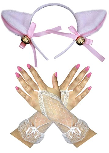 Pink/Weiss Lamm Cat Ohren + Spitze Fingerleos Handschuhe Ostern Gotisches