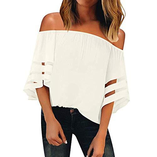 Vendita maglia pannello camicetta per donne丨2019 estate casual 3/4 campana manica sciolto shirt丨donna elegante girocollo solido maglie top camicie(bianco 8,small)