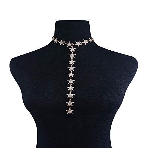 Zgsjbmh Damenschmuck-Collier-Set Lucky Star Layered Clavicle Halskette Legierung Kristall Kostüm Aussage Halskette Hochzeit Schmuck Strass Hochzeit/Events/Party (Farbe : ()