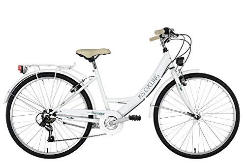 KS Cycling Damen Damenfahrrad 26\'\' Toscana weiß RH41cm Cityrad,