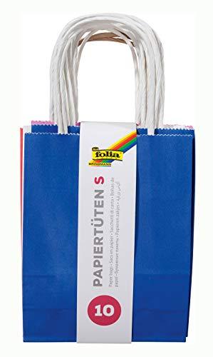 folia 21209/10 - Papiertüten aus Kraftpapier, Geschenktüten, ca. 12 x 5,5 x 15 cm, zum Basteln, Verzieren und Verschenken, 10 Stück, farbig sortiert