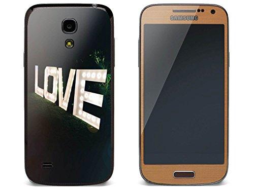 (creatisto Handy Samsung Galaxy S4 Mini | Schutz Folie Sticker Aufkleber Decal Schutz-Hülle Schutz vor Kratzer | Design Motiv L.O.V.E.)