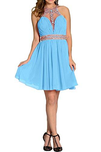 Ivydressing Damen Elegant ALinie Kurz Steine Partykleid Chiffon  Brautjunfernkleid Abendkleid Blau