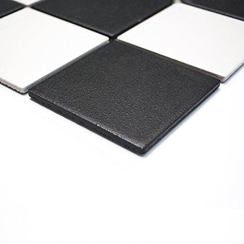 Mosaikfliesen Fliesen Mosaik Boden Küche Bad WC Wohnbereich Fliesenspiegel Keramik Quadrat schwarz weiß rutschhemmend R10B 6mm #264 -