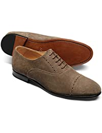 Taupe Suede Oxford Brogue Shoe by Charles Tyrwhitt