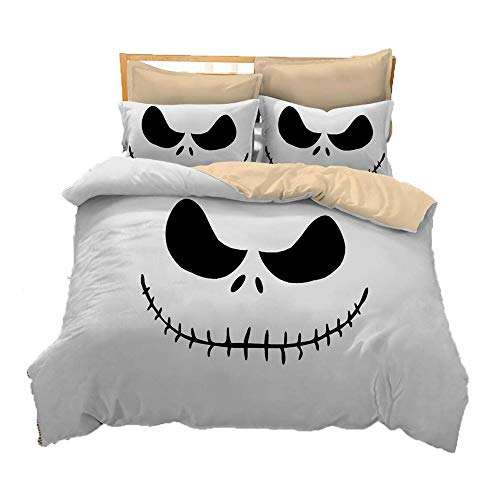 TONGSH Halloween Bettwäsche Blatt Set mit Bettbezug Kissenbezüge Bettwäsche 3D dreiteilige Set atmungsaktiv Bettdecke Quilt - King Size (Farbe : Style B, größe : Twin)