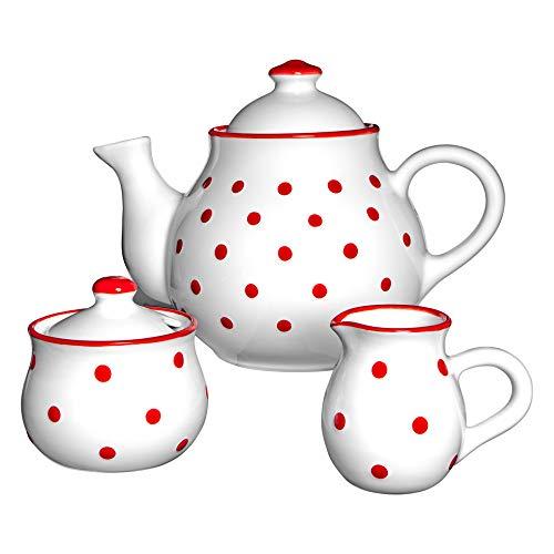 City to Cottage   Service à thé   Blanc à Pois Rouges en céramique Fait et Peint à la Main   Grande théière 1,7L 4-6 Tasses, Pot à Lait, sucrier
